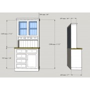 Kitchen Dresser 3' (92 cm) Dimensions for Dressers with Drawers in top