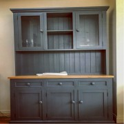 Half Glazed Door Top Dresser Painted Gray
